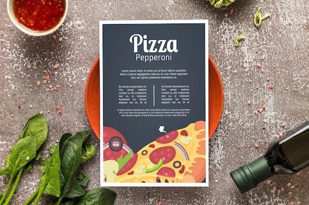 Maqueta de pizza menu concep