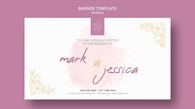 Maqueta de plantilla de banner de boda