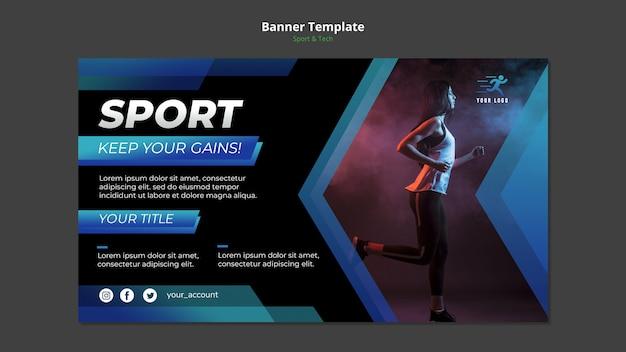 Maqueta de plantilla de banner de concepto de deporte y tecnología