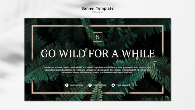Maqueta de plantilla de banner de concepto de naturaleza salvaje