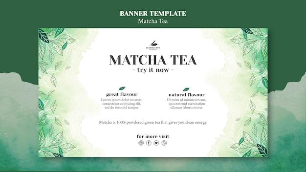 Maqueta de plantilla de banner de concepto de té matcha