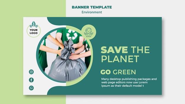 Maqueta de plantilla de banner de medio ambiente