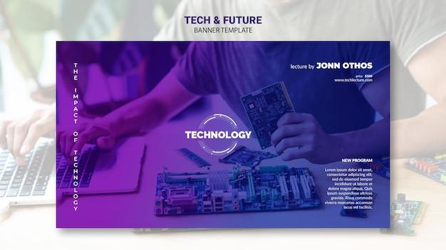Maqueta de plantilla de banner de tecnología y concepto futuro