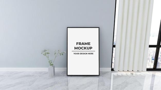 Maqueta de plantilla de cartel de marco grande en el piso