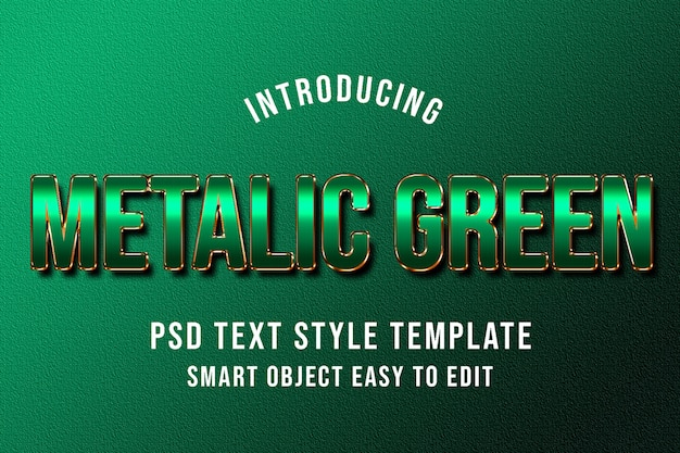 Maqueta de plantilla de estilo de texto psd verde metálico