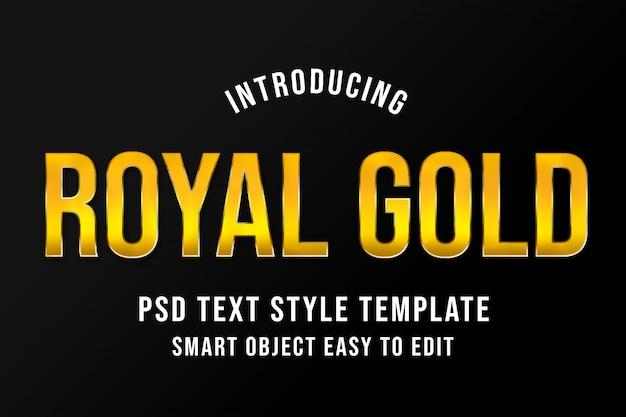 Maqueta de plantilla de estilo de texto royal gold psd