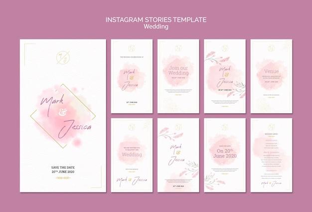 Maqueta de plantilla de historias de instagram de boda