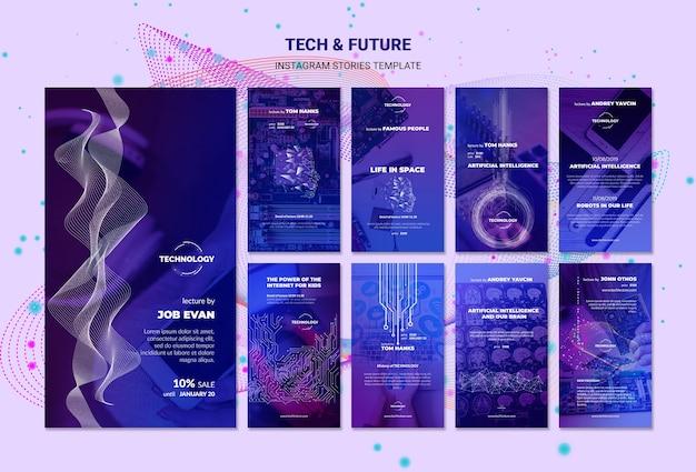 Maqueta de plantilla de historias de instagram de tecnología y concepto futuro
