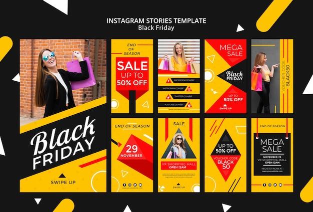 Maqueta de plantilla de historias de instagram de viernes negro