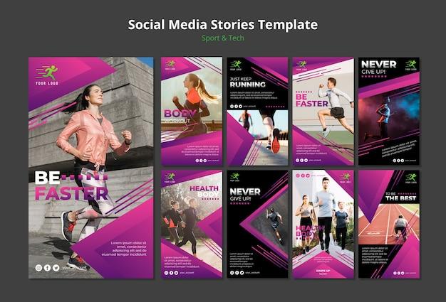 Maqueta de plantilla de historias de medios sociales de concepto tecnológico y deportivo