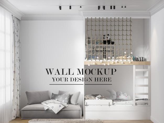 Maqueta de plantilla de pared de habitación infantil