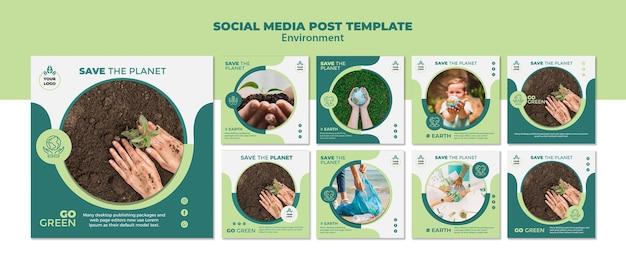 Maqueta de plantilla de publicación de medios sociales de medio ambiente
