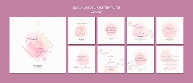 Maqueta de plantilla de publicación en redes sociales de boda