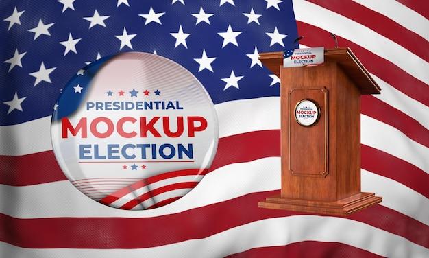 Maqueta del podio de las elecciones presidenciales e insignias para estados unidos