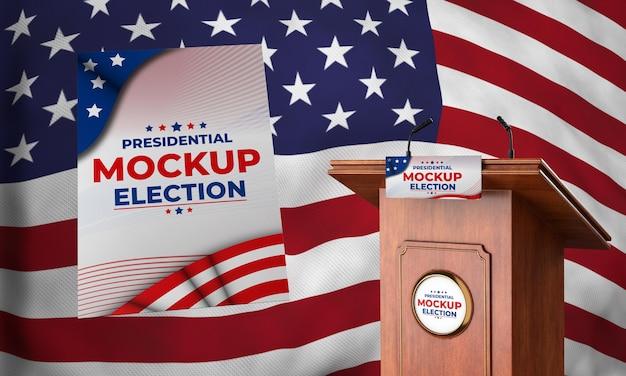 Maqueta de podio de elecciones presidenciales para estados unidos con bandera y póster