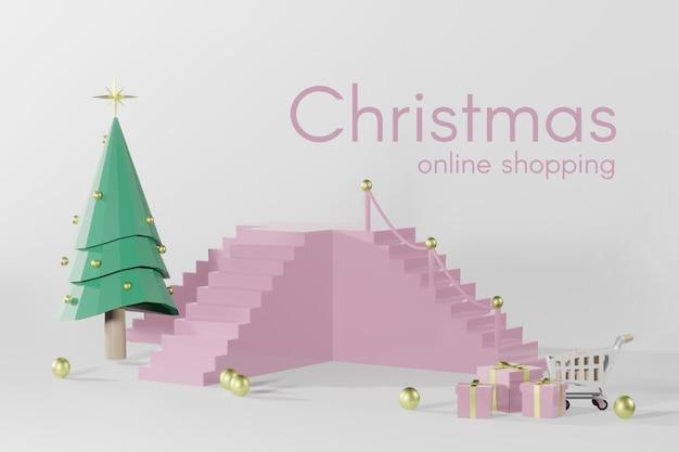 Maqueta de podio de navidad de renderizado 3d para colocación de productos