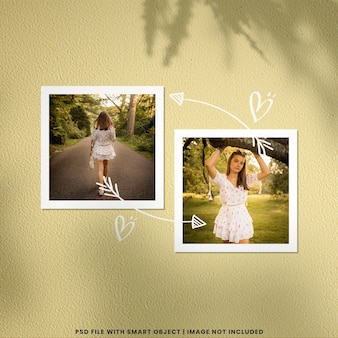 Maqueta de polaroid de marco de fotos con adorno de handraw premium psd