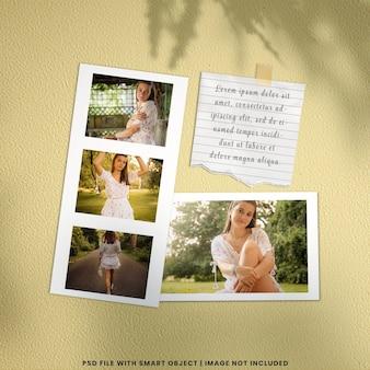 Maqueta de polaroid de marco de fotos realista premium psd