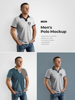 Maqueta de polo para hombre. el diseño es fácil de personalizar el diseño de imágenes, el color del polo, el color del cuello, los botones y el puño.
