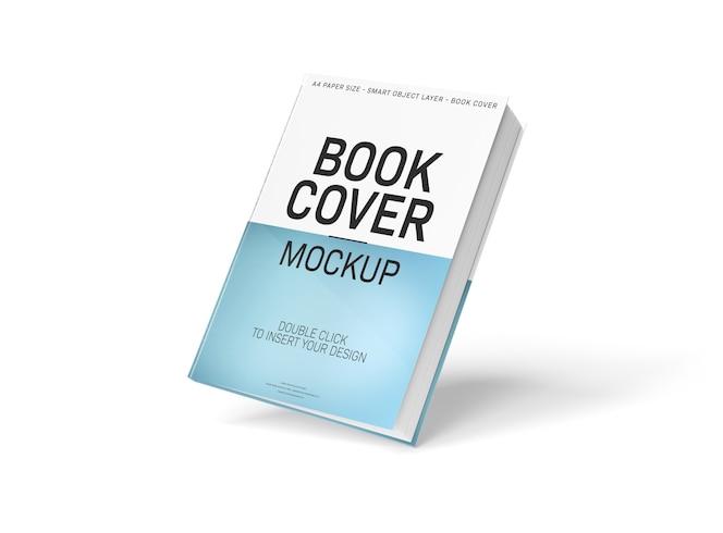 Maqueta de portada de libro a4 en blanco flotante