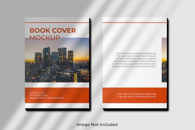 Maqueta de portada de libro a4 con sombra