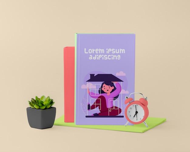 Maqueta de portada de libro minimalista de vista frontal