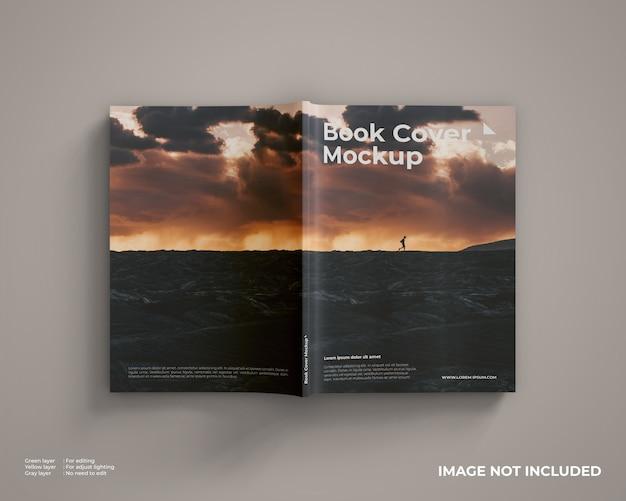 Maqueta de portada de libro se ve la vista superior