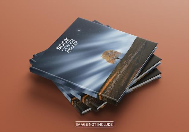 Maqueta de portada de libros minimalistas de vista lateral aislada