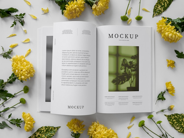 Maqueta de portada de revista de naturaleza vista superior con hojas