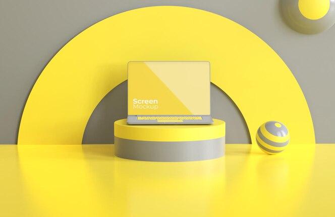 Maqueta de portátil con color del año