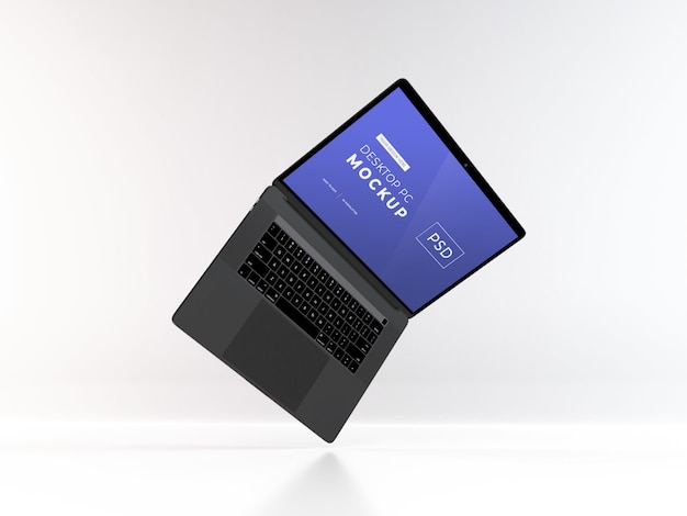 Maqueta de portátil realista modelo psd
