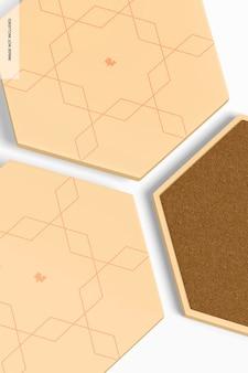Maqueta de posavasos hexagonales, primer plano