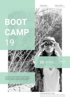 Maqueta de post de red social con concepto de boot camp
