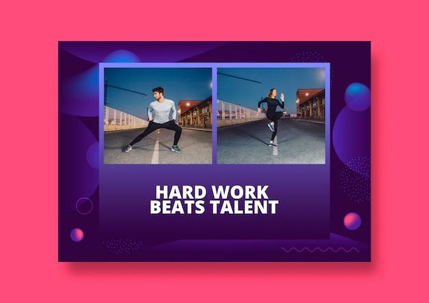 Maqueta de post de red social con concepto de fitness