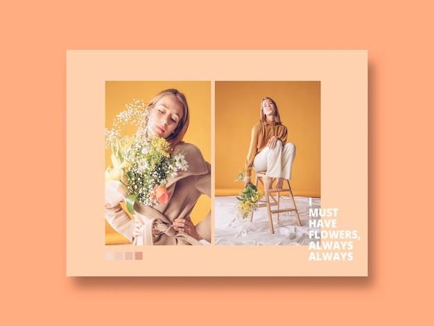 Maqueta de post de red social con concepto de flores