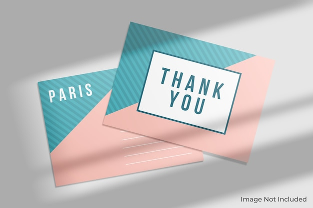 Maqueta de postal elegante con sombra