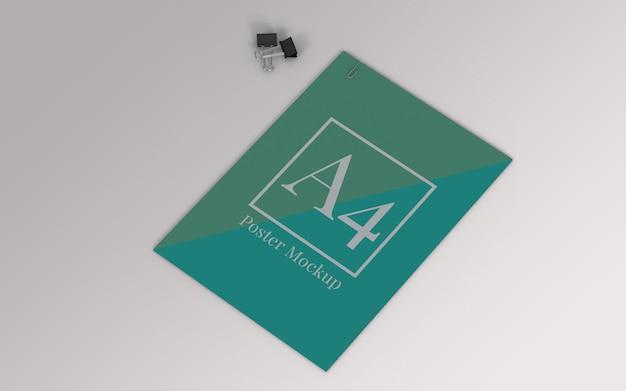 Maqueta de póster a4 con clip de carpeta y vista derecha del clip de papel