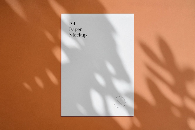 Maqueta de póster a4 con superposición de sombras
