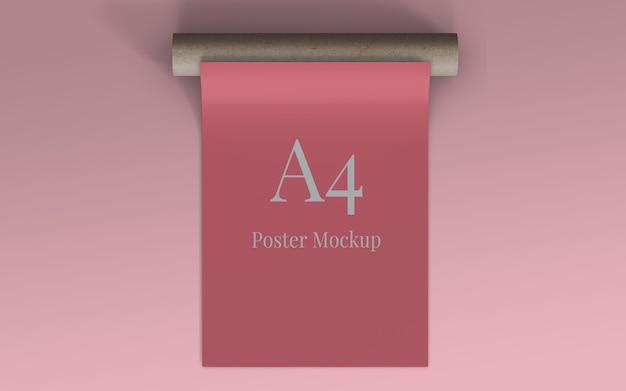 Maqueta de póster a4 con vista superior de cartón en rollo