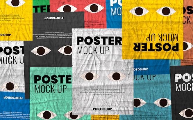 Maqueta de póster arrugado collage