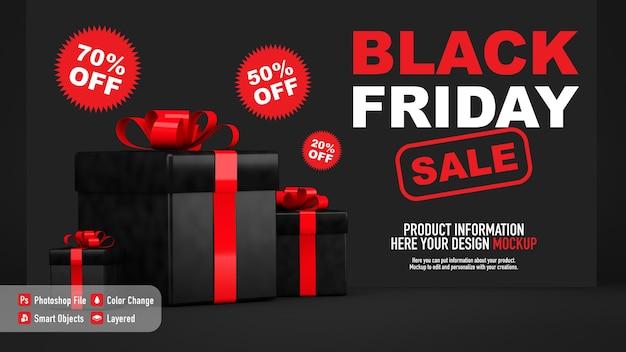 Maqueta de póster para black friday con cajas de regalo.