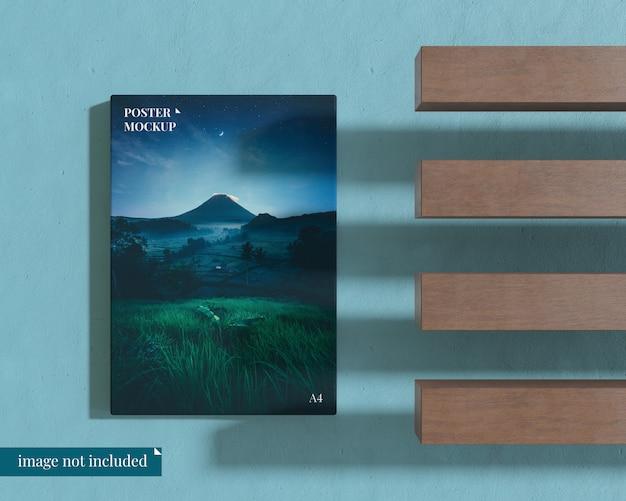 Maqueta de póster con bloque de madera