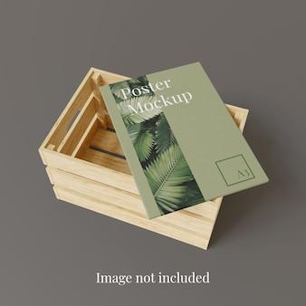 Maqueta de póster en caja de madera de almacenamiento