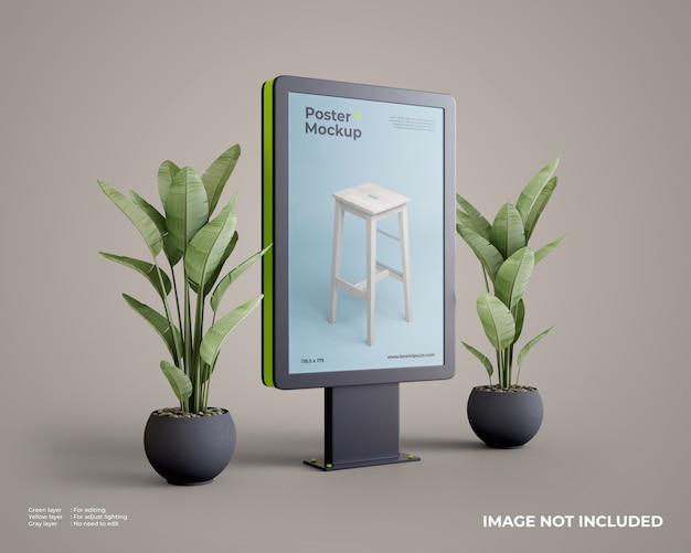 Maqueta de póster citylight con planta en el lateral