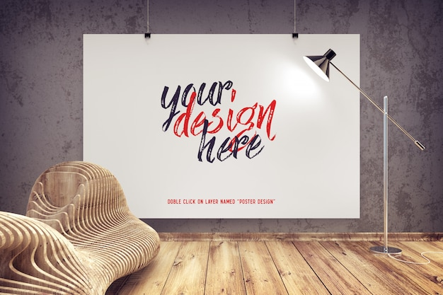 Maqueta de póster colgado en un interior moderno
