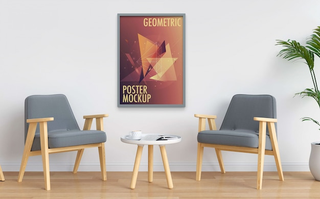 Maqueta de póster colgado en la pared blanca interior