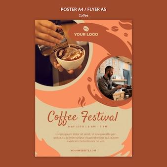 Maqueta de póster de concepto de café