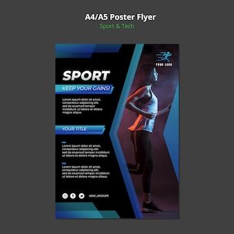 Maqueta de póster de concepto deportivo y tecnológico