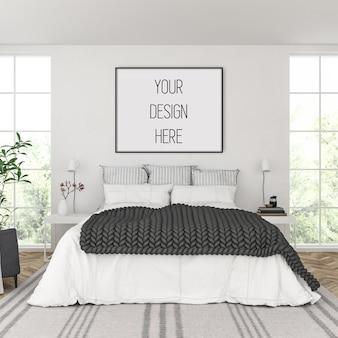 Maqueta de póster, dormitorio con marco horizontal