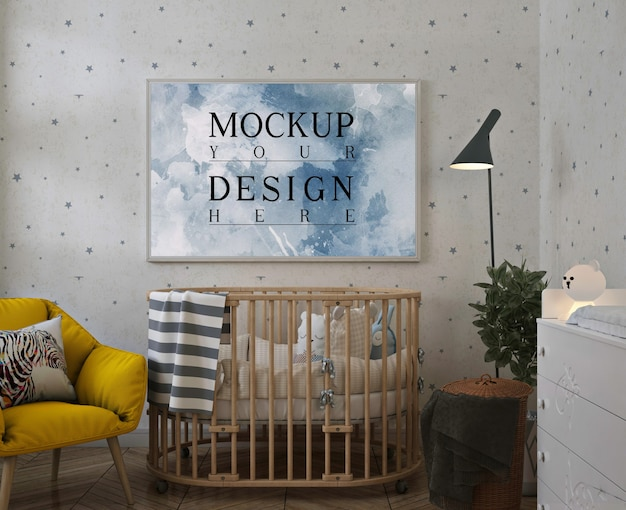 Maqueta de póster en dormitorio moderno para bebés